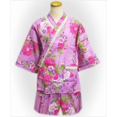 甚平 じんべい 女性用 ラメレース 紫ピンク地可憐花ライン レディース 夏祭 部屋着