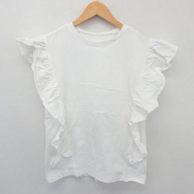 【中古】MERLOT カットソー Tシャツ 半袖 フリル袖 シンプル 綿 コットン ホワイト 白 /ST53 レディース 【ベクトル 古着】
