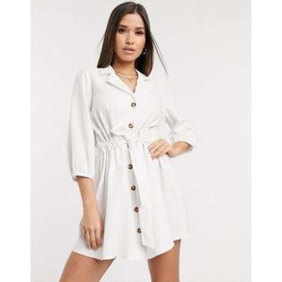 エイソス レディース ワンピース トップス ASOS DESIGN button through mini shirt dress with ruched waist in linen in white