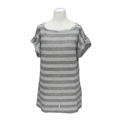 UNIQLO ユニクロ デザイン-T ボーダードレープカットソー (Tシャツ) 073833【中古】