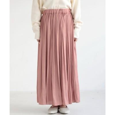 ミューカ mjuka ギャザーマキシスカート 割繊サテン (ピンク)