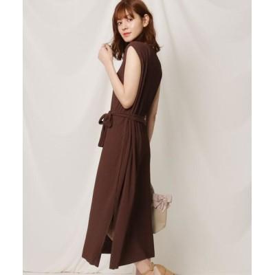 Couture Brooch/クチュールブローチ 【洗える】プリーツカットソーワンピース ディープブラウン(045) 38(M)