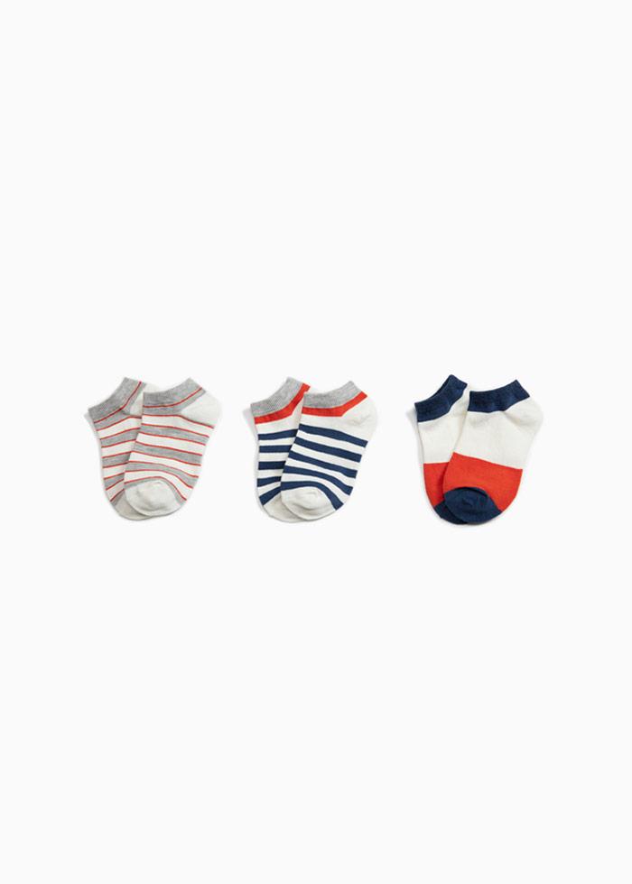 (男童三入組).舒棉踝襪(條紋/色塊/框線)