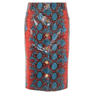 VERSACE ひざ丈スカート レッド 44 牛革(カーフ) 100% ひざ丈スカート