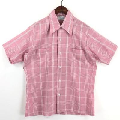 古着 Career Club チェックシャツ デッドストック made in USA 70年代 ヴィンテージ 半袖 ピンク系 メンズL 中古 n025130