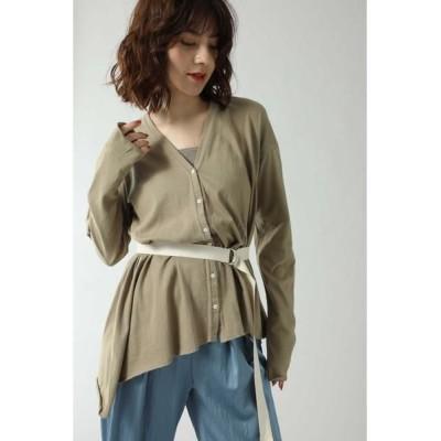ROSE BUD/ローズ バッド バックオープンロングTシャツ ベージュ -