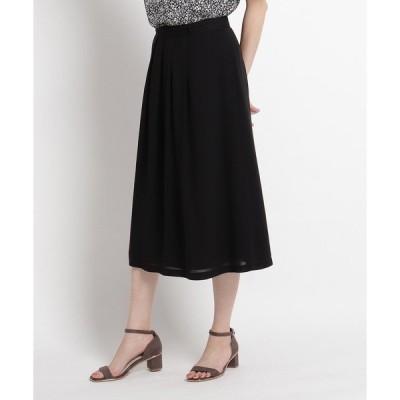スカート 【洗える】キュプラツイルミモレ丈スカート