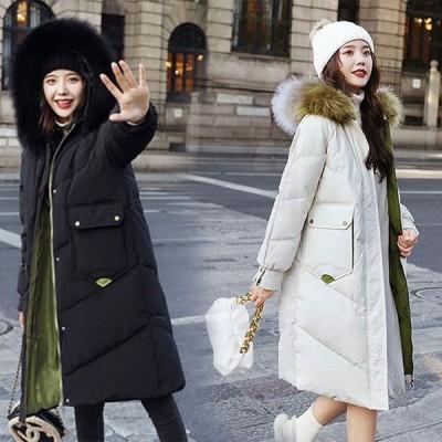 中綿ダウンコート レディース 40代 ロング丈 軽い 秋冬 アウター 中綿コート 中綿ジャケット ダウン風コート フード付き 厚手 暖かい 大きいサイズ スリム