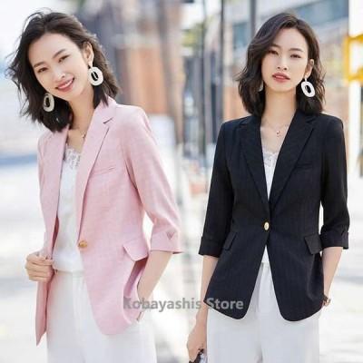 サマージャケットレディース7分袖チェック柄テーラードジャケット大きいサイズピンク白黒通勤OLオフィスジャケット20代30代