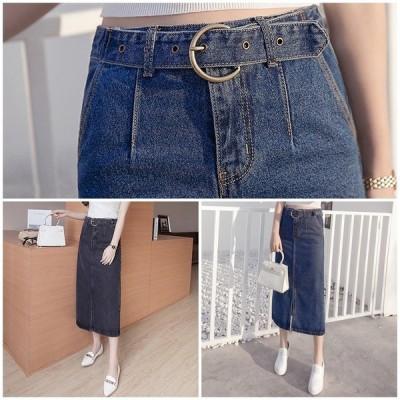 デニムスカート 大きいサイズ 小さいサイズ ひざ下 ミドル丈 レディース スカート きれいめ おしゃれ かわいい L70