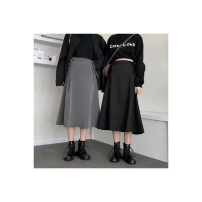 【送料無料】~ 秋冬 韓国風 ルース ハイウエストスカート ブラック 何でも似合う 秋 感 言葉 ス | 346770_A64193-3556446