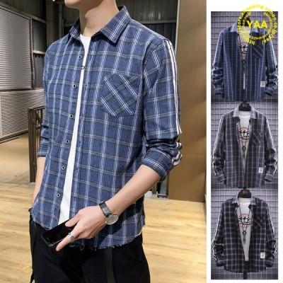 シャツ メンズ サイドライン チェックシャツ トップス カジュアルシャツ ネルシャツ 細身 長袖 裾ダメージ 10代 20代 30代 ファッション
