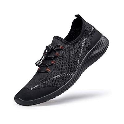 [MOXOCO] ジム シューズ ランニングシューズ メンズ ジョギングシューズ レディース 運動靴 (ブラック 24.5 cm)