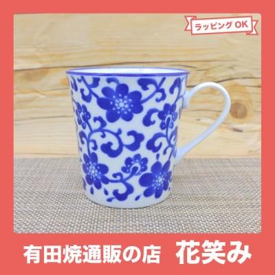 マグカップ 美濃焼 ブルーフラワー YKマグ 軽量 花柄|和食器 陶器 三階菱