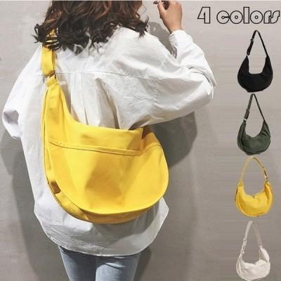 ショルダー バッグ レディース 韓国 ズックバッグ かばん シンプル 無地 肩掛け 旅行 可愛い ファッション 2way 鞄 人気 新作 4色
