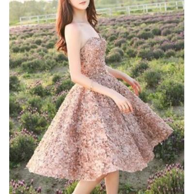 パーティードレス 大きいサイズ 膝丈 ワンピースドレス 花びら 立体 Aライン ハイウエスト フレア セクシー お呼ばれ 成人式 二次会 披露