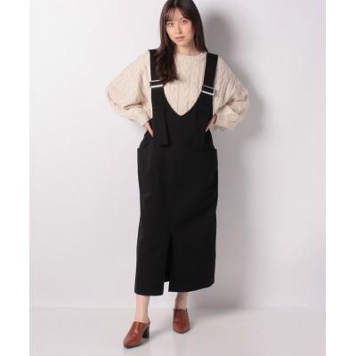 (koe/コエ)オーバーサイズバックルジャンパースカート/レディース ブラック