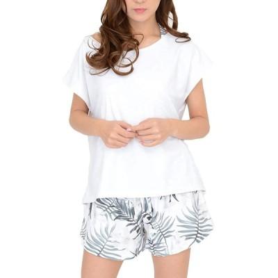 [COTARON] 水着 レディース 体型カバー タンキニ カバーアップ オーバーTシャツ ショートパンツ 4点セット (ホワイト ボタニカル, LL