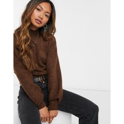 モンキ レディース ニット&セーター アウター Monki Miriam high neck sweater in brown Brown