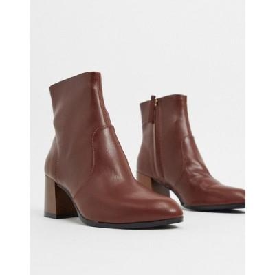 エイソス ASOS DESIGN レディース ブーツ シューズ・靴 Reporter heeled boots with flared wooden heel in brown ブラウン