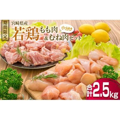 B132-20 ≪小分けで嬉しい≫若鶏もも肉(250g×6袋)&むね肉(250g×4袋)セット【合計2.5kg】