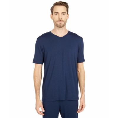 ハンロ シャツ トップス メンズ Casuals Short Sleeve V-Neck Shirt Deep Navy
