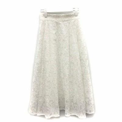 【中古】アナイ ANAYI 19SS スカート フレア ロング 花柄 34 S 白 ホワイト /SR レディース