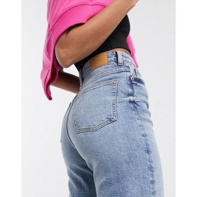 モンキ レディース デニムパンツ ボトムス Monki Zami organic cotton high waist straight leg jeans in vintage blue Mid blue