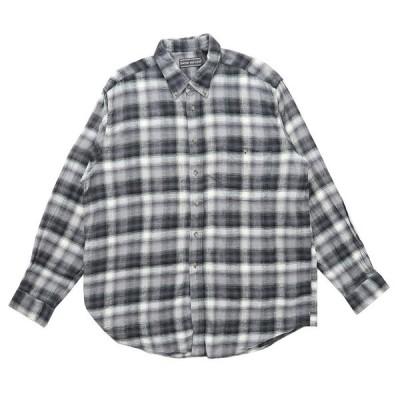 ボタンダウンシャツ 長袖 チェック グレーベース サイズ表記:XL