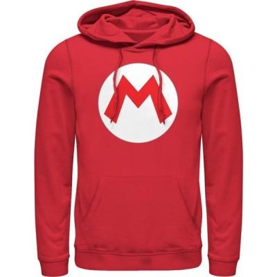 フィフス サン Fifth Sun メンズ パーカー トップス Nintendo Mario Circle Icon Pull Over Hoodie red