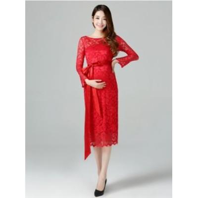 超可愛い マタニティ 妊婦ドレス ミディアムドレス ワンピ パーティドレス ミドル丈 9分袖 赤 白 黒 大きいサイズ 結婚式 二次会 D078