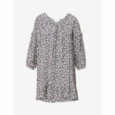 バッシュ BAandSH レディース ワンピース ミニ丈 ワンピース・ドレス Elroy floral-print ruffle-trimmed crepe mini dress NOIR