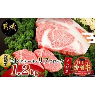 宮崎牛(A5)ヒレステーキ・リブロースブロック1.2kgセット_MB-0199