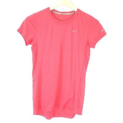 【中古】ナイキ NIKE RUNNING DRY-FIT Tシャツ カットソー S ピンク ロゴ 半袖 トップス レディース 【ベクトル 古着】