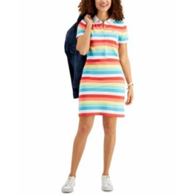 トミー ヒルフィガー レディース ワンピース トップス Striped Polo Dress Chili Multi