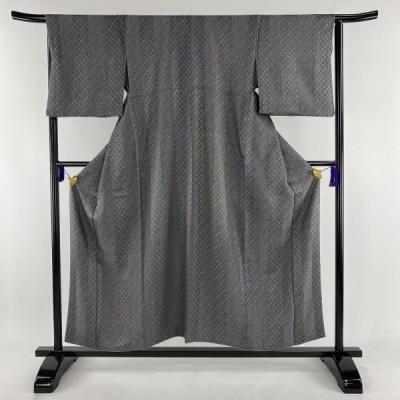 小紋 秀品 市松 縦縞 灰色 袷 身丈155.5cm 裄丈65cm M 正絹 中古 PK30