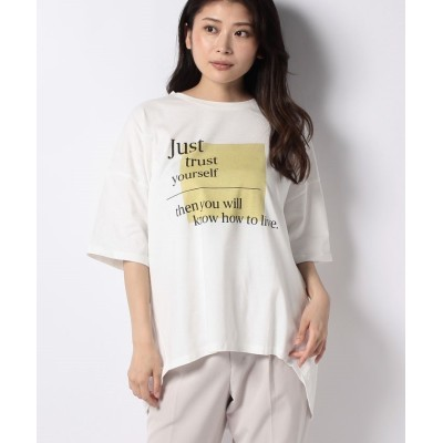 【ブージュルード】 コットンロゴオーバーTシャツ レディース オフホワイト ONE SIZE Bou Jeloud