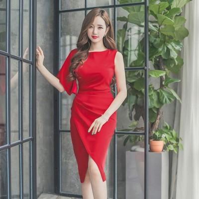 綺麗めファッションセクシーラウンドネック無地半袖ギャザー飾りハイウエストタイトスカートセクシーワンピース ドレス