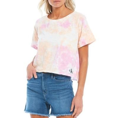カルバンクライン レディース Tシャツ トップス Jeans Tie Dye Short Sleeve Tee Melon