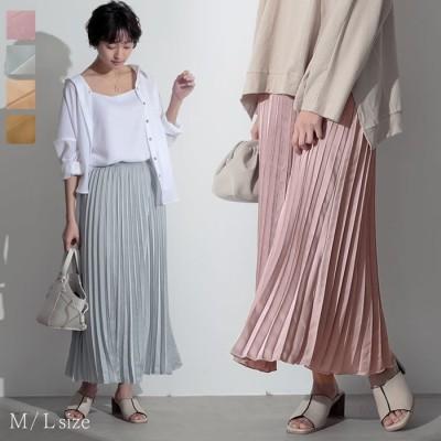 Re:EDIT お呼ばれシーンにも対応!上品な艶やかさを放つサテンプリーツスカート ミディアム丈サテンプリーツスカート スカート/スカート ベージュ M レディース