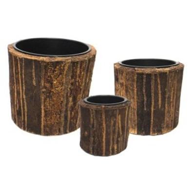 室内用植木鉢カバー [ブラウン ラウンド型] 3サイズ×1組 インナーポット付 『タック』 [園芸 ガーデニング用品]
