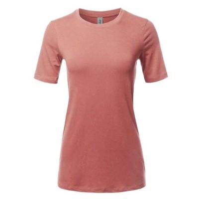 レディース 衣類 トップス A2Y Women's Basic Solid Premium Cotton Short Sleeve Crew Neck T Shirt Tee Tops Ash Rose S