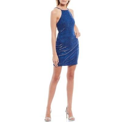 シティヴァイブ レディース ワンピース トップス High-Neck Cage-Back Glitter Shine Bodycon Dress