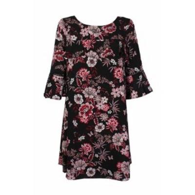 Jessica Howard ジェシカハワード ファッション ドレス Jessica Howard Petite Black Multi BellSleeve FloralPrint Ruffled Shift Dress