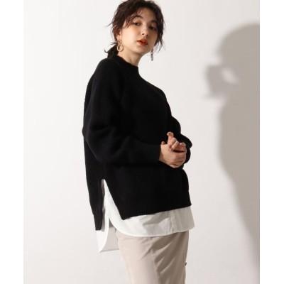【オゾック】 裾シャツ畦ハイネックニット レディース ブラック 40(L) OZOC