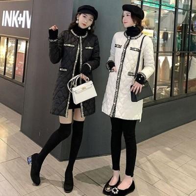 コート レディース 冬 フェミニン 2色 大きいサイズ ツイード ツィード バイカラー 中綿ジャケット 中綿コート ロングコート ロング丈
