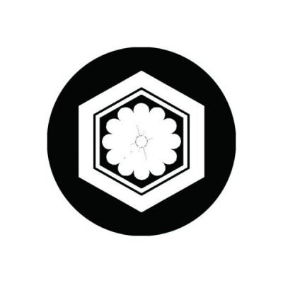 家紋シール 白紋黒地 亀甲に十二葉菊 布タイプ 直径40mm 6枚セット NS4-0880W