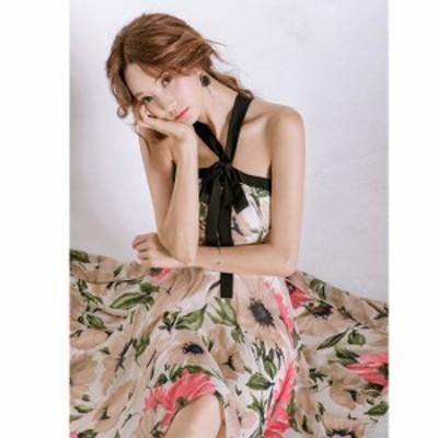 即納 ふんわり  花柄 リゾート シフォン ヘムライン ワンピース ドレス  パーティー  結婚式