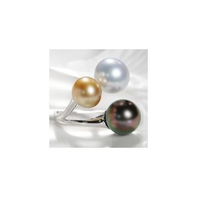 K18WG ゴールド パール タヒチパール 真珠 3色 リング 指輪 カラフル 6月 FYR0220