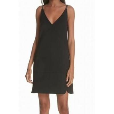 Helmut Lang ヘルムートラング ファッション ドレス Helmut Lang Womens Black Size 0 Studded V-Neck Crepe Shift Dress